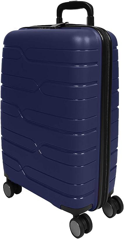 Chiusura TSA Incassata e 4 Ruote Doppie Bagaglio a Mano Rigido da Viaggio Blu Ryanair e EasyJet 55x40x20 cm Blu, S Perletti Travel PERLETTI Valigia Trolley Extra Resistente in Polipropilene