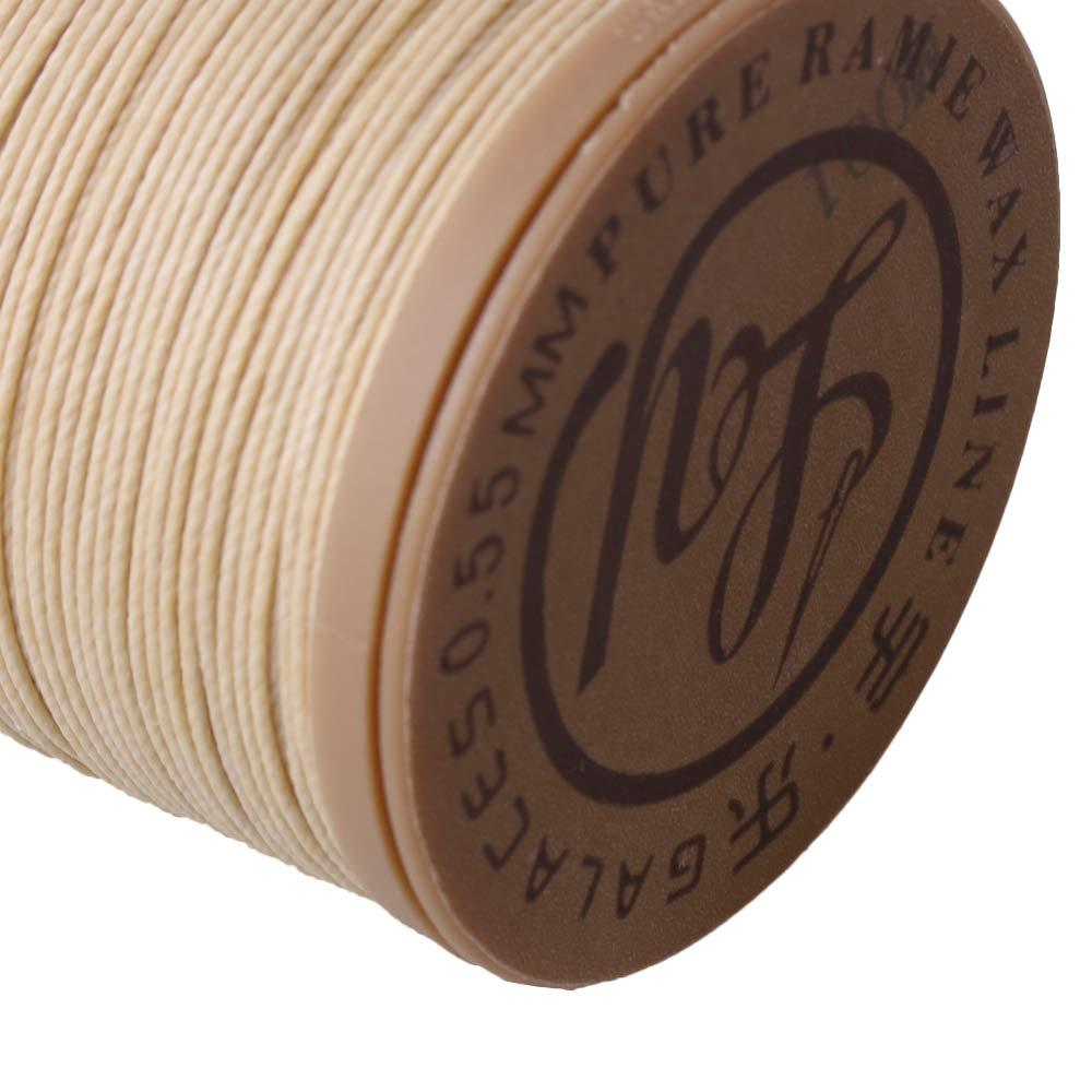 Cnbtr beige 95 m 0.55 mm dia Rami/è cuoio cucito rotondo filo cerato cavo per DIY artigianato