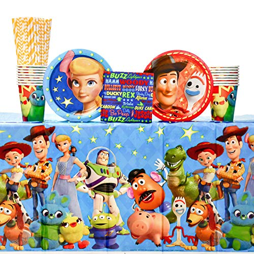 Toy Story 4Birthday Party Supplies Party Pack for 16 Guests Including | Paper Cups, Paper Dessert Plates, Paper Beverage Napkins, Paper Straws, and Plastic Table Cover | Toy Story Party Supplies
