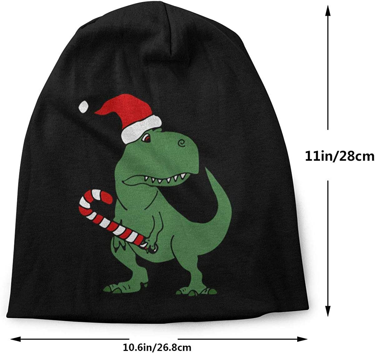 Thin Dinosaur in Santa Hat Christmas Unisex Solid Color Beanie Hat Stretchy /& Soft Winter Cap