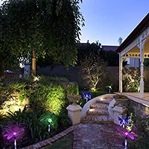 Solar Garden Lights, KUMEDA Outdoor Solar Light Multi-color Changing Decorative Lights with a White LEDs Stake Light for Garden Patio Festival 3-Pack (Butterfly,Hummingbird,Dragonfly)