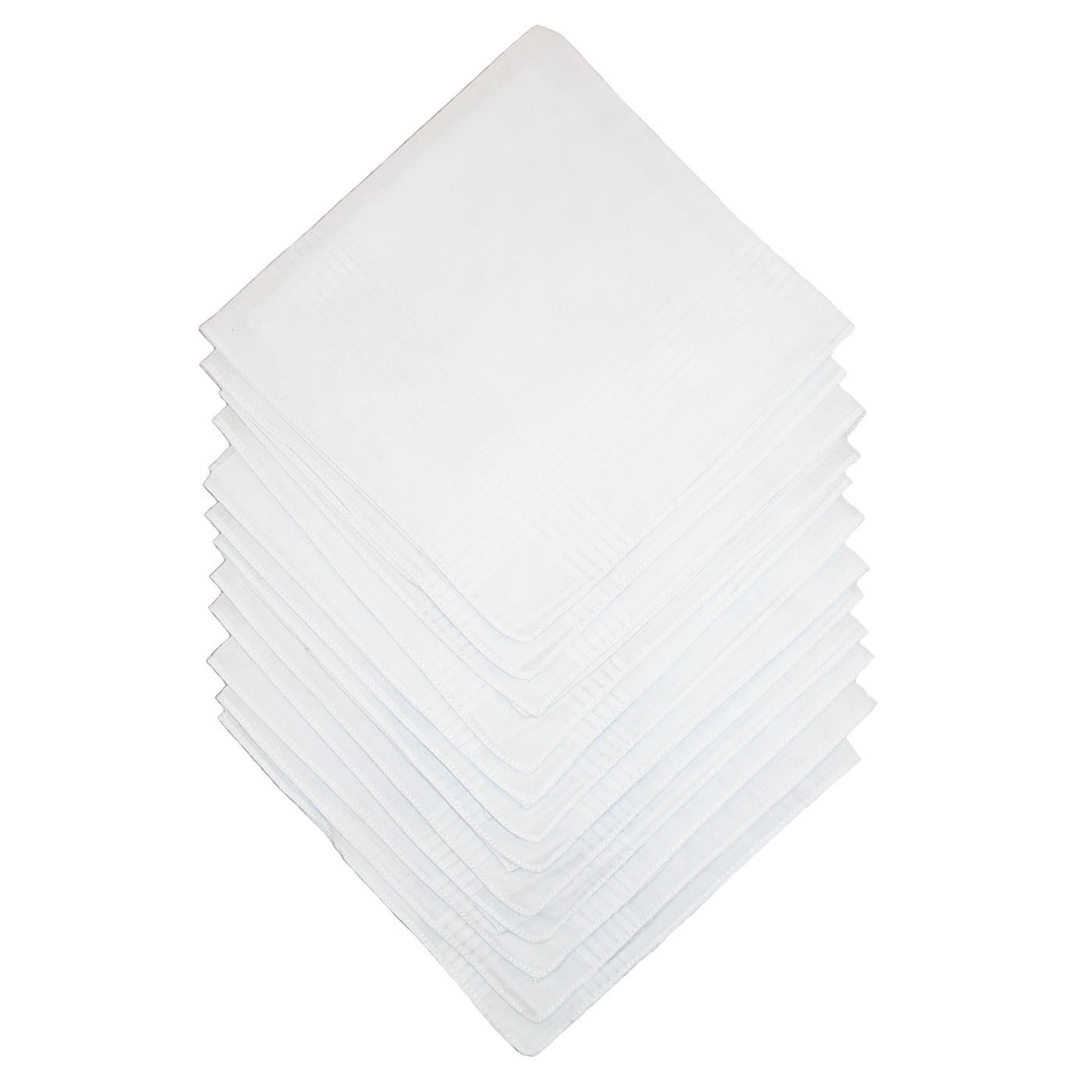 12pc Handkerchiefs Plain White Men x 38cm 100% Cotton Square Pocket Hankie Hanky
