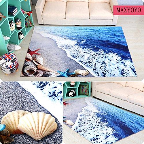 MAXYOYO 3D Blue Seaside Carpet Living Room Bedroom Bedside Area Rug 63 by 94 Inch Soft Non-slip Bedroom Carpet Large Carpet Rug