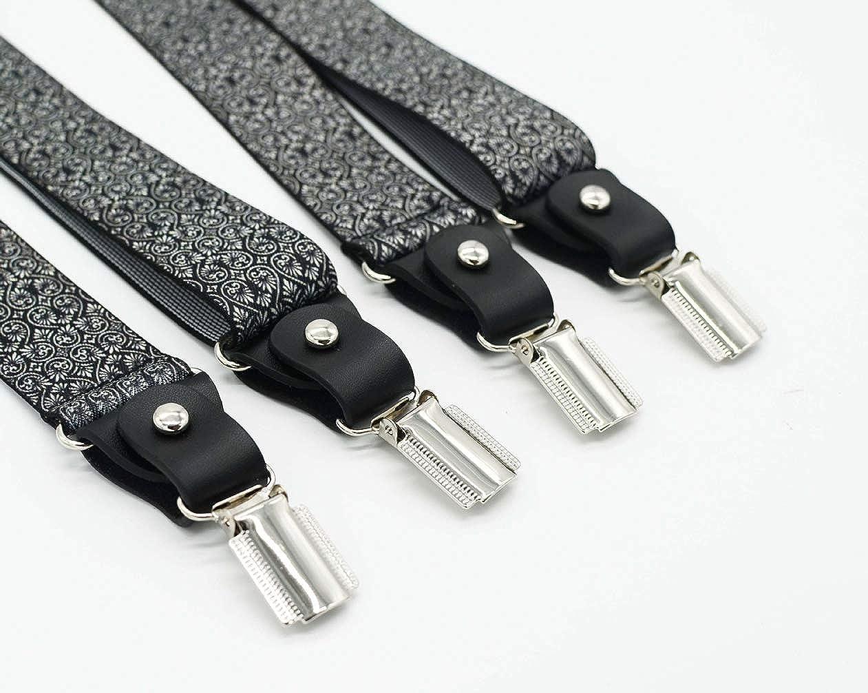 SupSuspen Mens No-cross Style 4 Clips Suspenders 1.4 Inch Wide Heavy Duty Braces