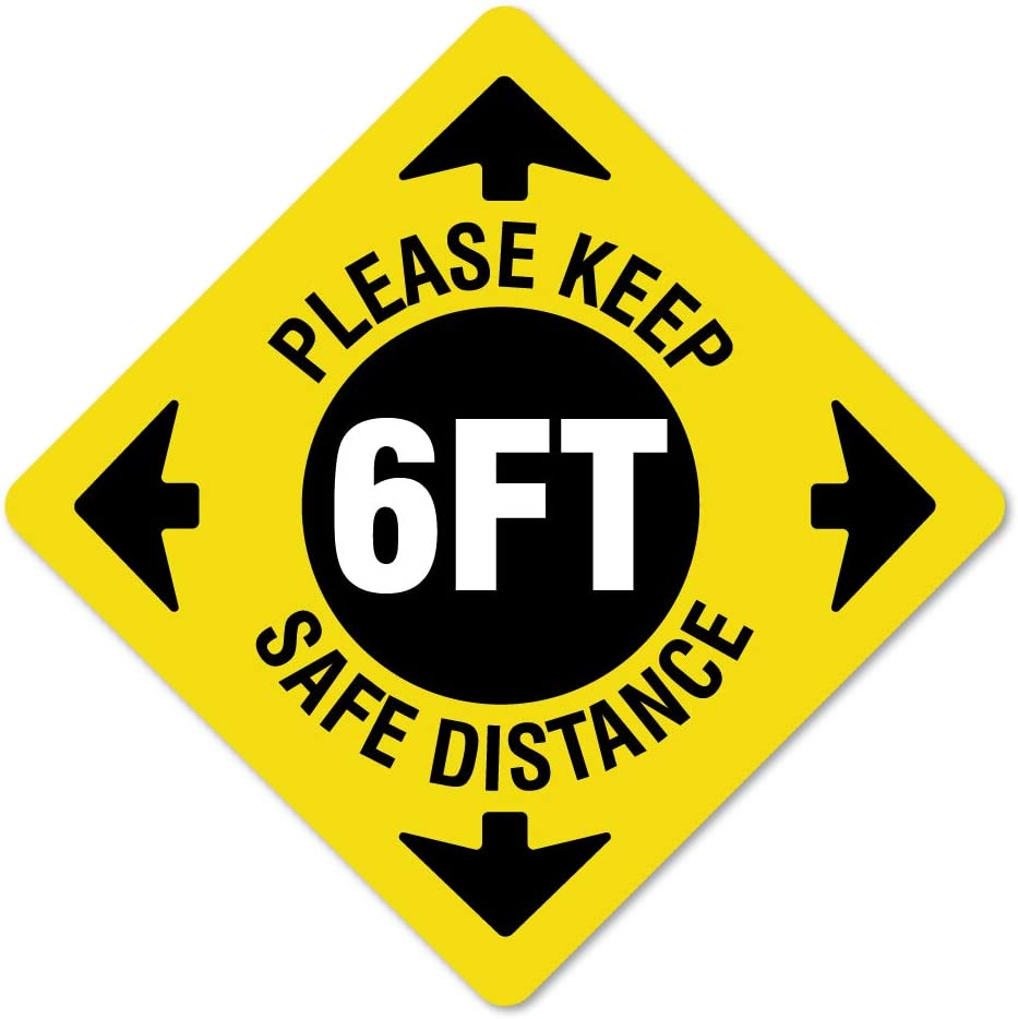 Work Place /& Customers / Made in The USA Coronavirus Please Keep Safe Distance Non-Slip Floor Graphic 12 Pack of 16 Vinyl Decal Protect Your Business