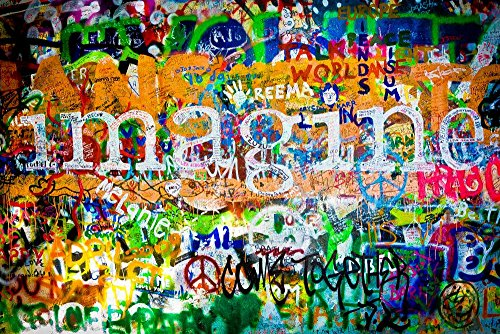 Wallmonkeys WM80047 Muro De John Lennon Praga Peel and Stick Wall Decals (60 in W x 40 in H)
