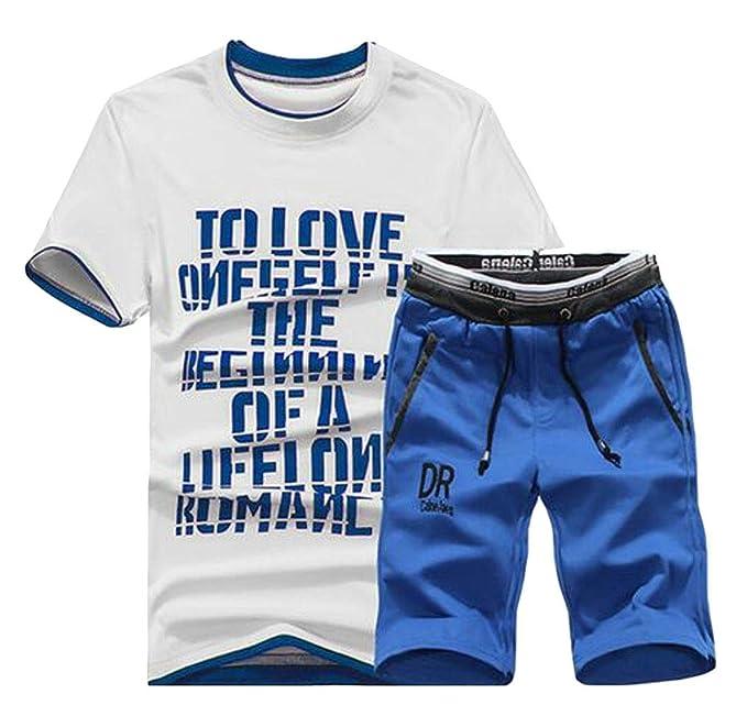 KLJR Men Short Sleeve Gym Two Pieces Shorts T-Shirts Sweatsuit Set