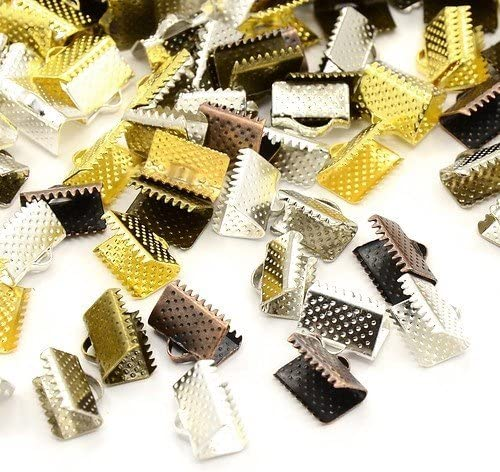 Packet of 30 x Mixed Plated Iron 7 x 10mm Ribbon Ends//Clamps HA12475 Charming Beads