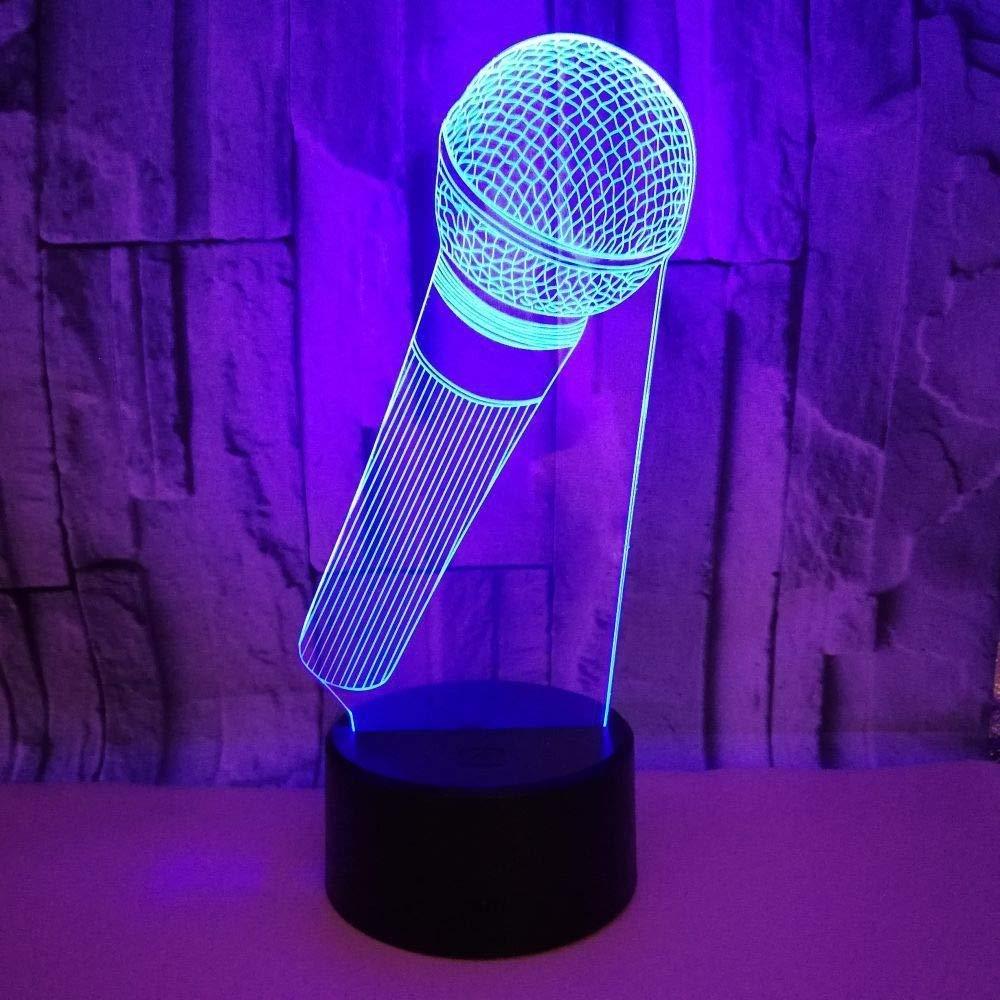 L/ámparas nocturnas 7 colores ilusi/ón visual Modelo de micr/ófono acr/ílico LED ColorCafe Bar Decoraci/ón Altavoz Bluetooth