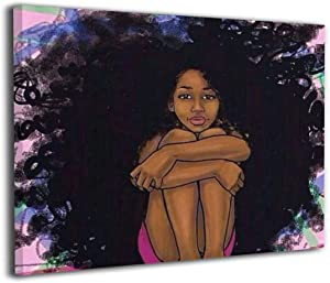 Canvas Wall Art African American Afro Black Girl Decor Frameless Paintings Pictures Modern Decorations for Living Room Bedroom Bathroom Home Decor for Living Room 40x50cm