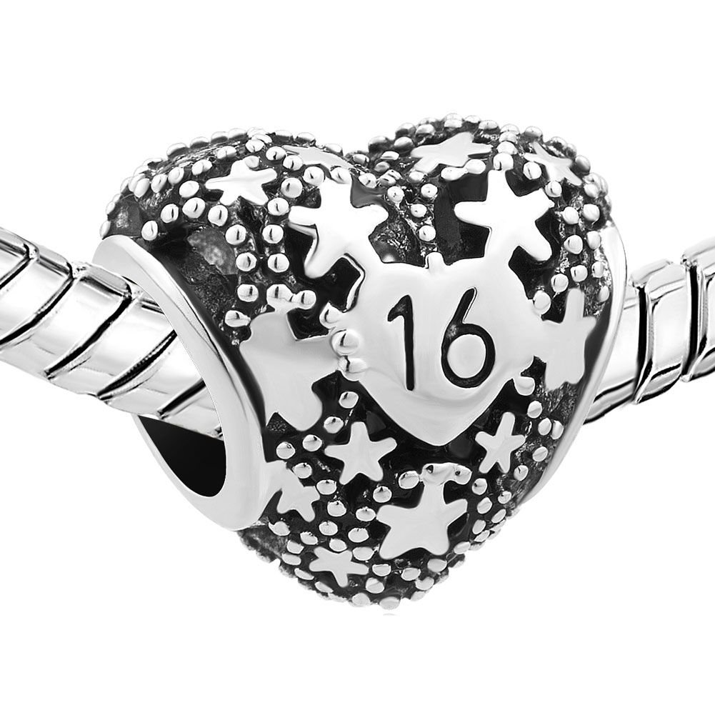 Uniqueen 18 / 16 Birthday Charm Love Star Heart Charms Bead Gift Fit Bracelet GcyKA