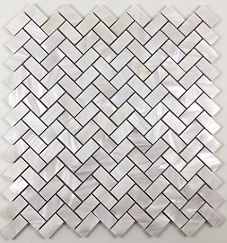 Genuine Natural Mother of Pearl Oyster Herringbone Shell Mosaic Tile with Backing for Kitchen Backsplashes, Bathroom Walls, Floor Tile, Spas, Pools By Vogue Tile ()