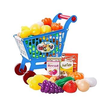 YeahiBaby Carrito de Juegos para Cocinar para Niños con Frutas y Verduras Juguetes de Aprendizaje Heladería 17 Piezas (Azul): Amazon.es: Juguetes y juegos
