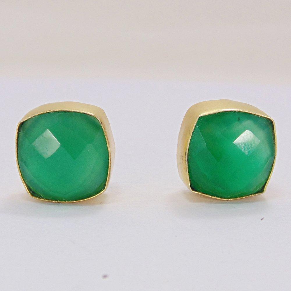Green Onyx Gemstone May Birthstone Cushion Shape Post Studs Earrings