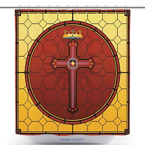 Funky Shower Curtains Stained Glass Christian Cross Square Panel 163474082 Polyester Bathroom Shower Curtain Set With Hooks by