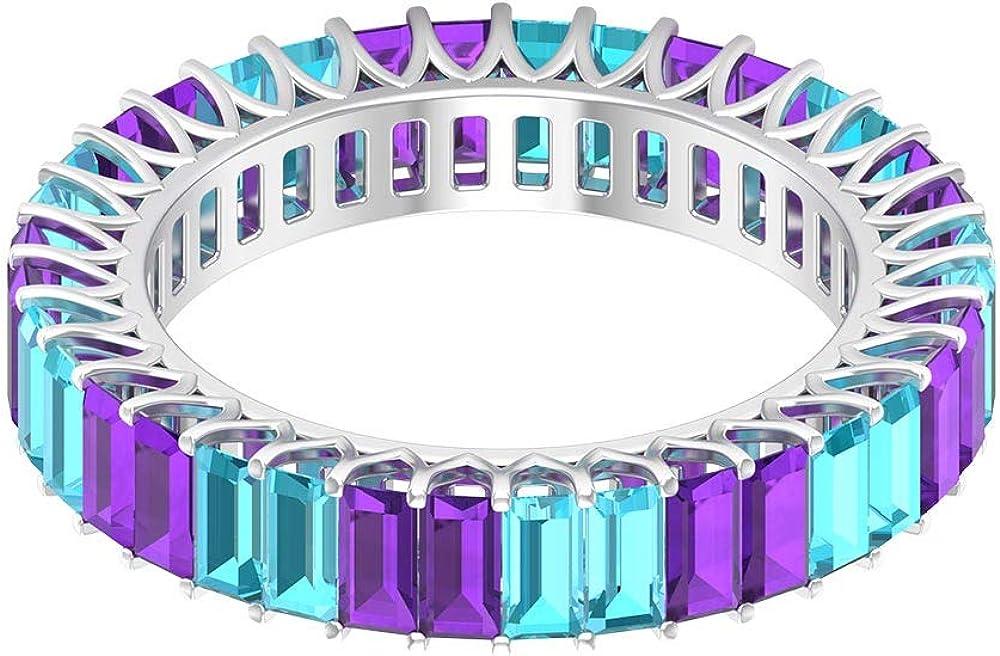 2 ct 2 x 4 mm amatista anillo alterna, 1,5 ct, anillo de topacio azul baguette suizo, anillo de eternidad de piedras preciosas, anillo de boda apilable, regalo de aniversario para esposa, 14K Oro