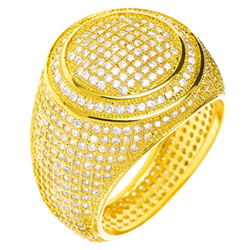 Hip Hop Iced Out Men Luxury Fashion Rock Golden All Around CZ Band Double Round Style Pinky Ring / G15644-7 (8) (Mens Golden Iced Out Rings)