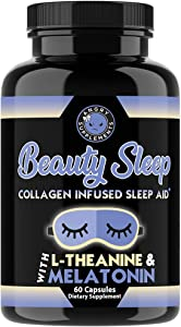 Beauty Sleep, Collagen Infused Night Time Sleep Aid, All Natural Pills with L-Theanine, Melatonin, Magnesium & Hyaluronic Acid by Angry Supplements (1-Bottle)