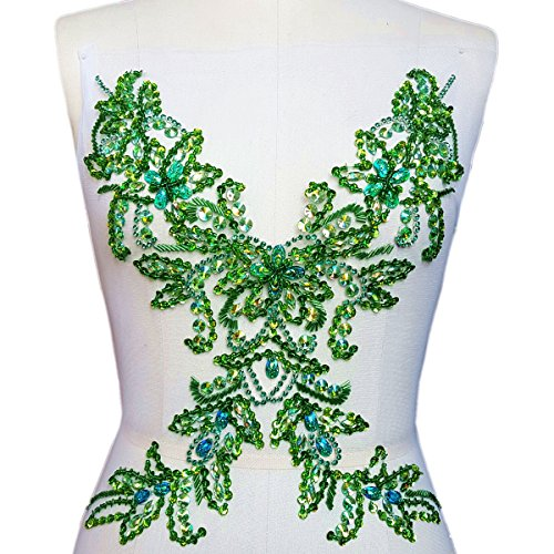 Sparkle Handcrafted Large Flower Crystals Rhinestones Sew on Trim Applique Bridal Wedding Dress Beaded Patch DIY for Prom Ball Party Dresses Decoration (Green)