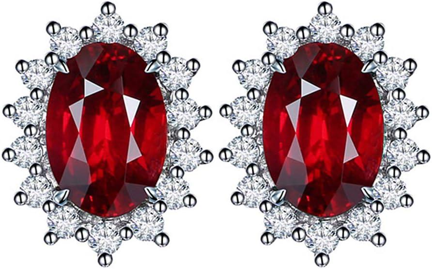 Cestbon Natural Peridot Amatista Topaz Creado Zafiro Esmeralda Rubí Pendientes de Piedras Preciosas 925,Rojo