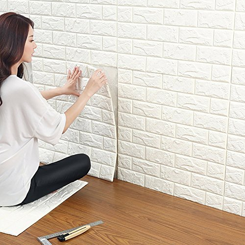 10 Pcs 3D Brick Wall Panels, White Brick Wallpaper, Self Adhesive Wallpaper for Bedroom Living Room Background TV Decor 6060cm