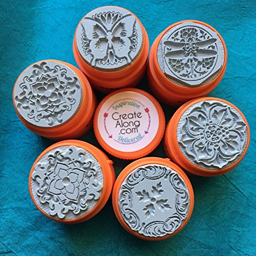 Secret Garden TextureStax set of 6 round rubber stamps for polymer clay and mixed - Clay Stamps Rubber Polymer For