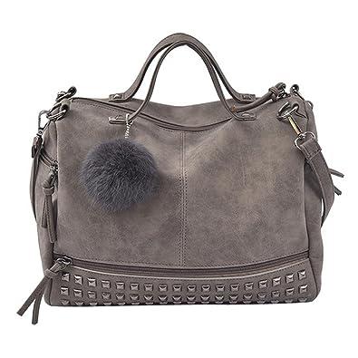 67c5838bb7844 Resplend Damen Damen Rucksack PU-Leder Handtasche Nieten Schultertaschen  Haarball Anhänger Messenger Taschen Reißverschluss Diagonales