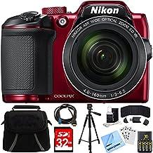 [Patrocinado] Nikon Coolpix B50016MP 40x zoom óptico cámara digital 32GB Bundle Incluye cámara, bolsa, lector de tarjeta de memoria de 32GB,, portafolios, pilas AA + Cargador, Cable HDMI, trípode, gamuza de playa cámara y más