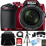 : Nikon COOLPIX B500 16MP 40x Optical Zoom Digital Camera 32GB Bundle Includes Camera, Bag, 32GB Memory Card, Reader, Wallet, Batteries + Charger, HDMI Cable, Tripod, Beach Camera Cloth and More (Red)