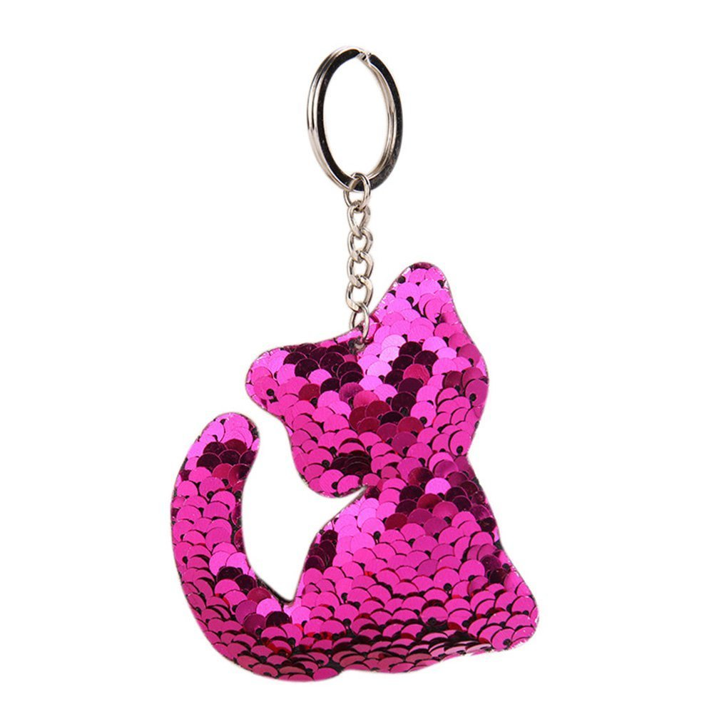 ShiningLove Delicate Sequins Shiny Cat Key Ring Cute Lovely Lady Girls Keychain