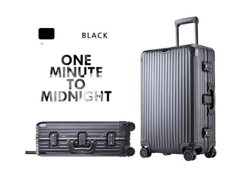 cas-22 スーツケース 新品 アルミ製 キャリーケース 旅行トランク 旅行必須品 B06XTG6ZJ2ブラック 29インチ