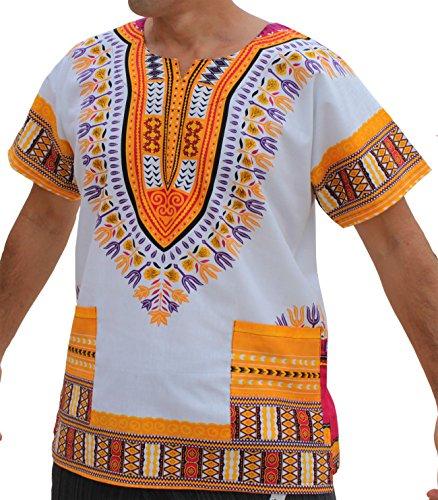 RaanPahMuang Brand Unisex Bright African White Dashiki Cotton Shirt #85 Medium Yellow Medium