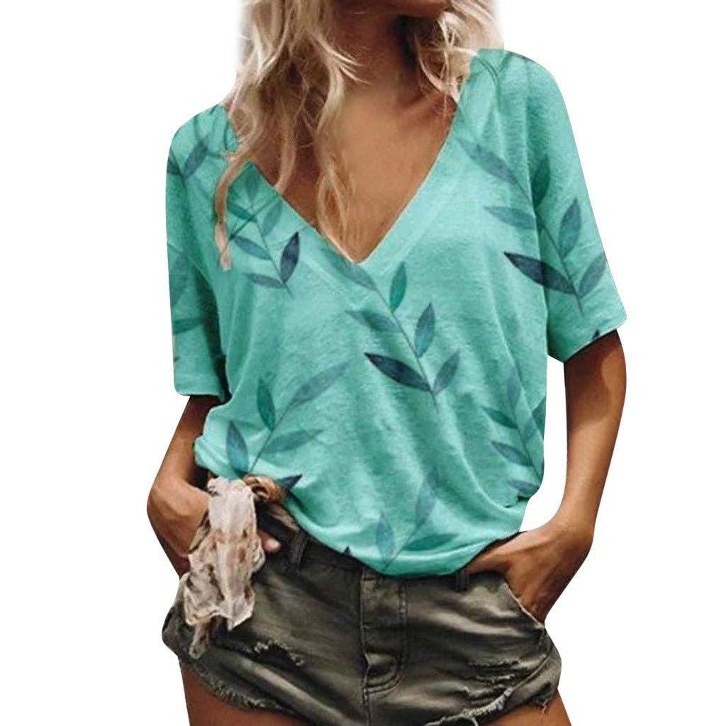 Women's Plus Size Summer Casual Sexy Short Sleeve V Neck Slub Texture Tee Loose Top Tshirt Blue