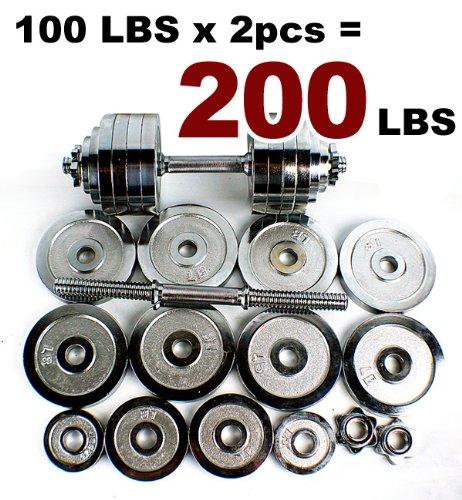 Adjustable 200 Lb Dumbbells: New Pair 200 Lbs Adjustable Chrome Dumbbells Weight Set