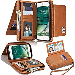 Removable Wallet Case for iPhone 6s Plus(5.5 inch),LefRight Vintage Leather Magnetic Flip 12 Credit Card Holder Zipper Handbag Wrist Strap