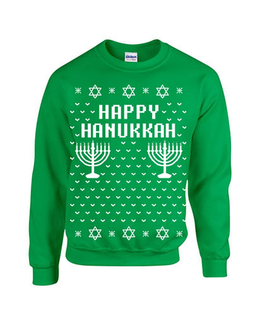 Amazon.com: Happy Hanukkah Ugly Sweater Design CREW Sweatshirt: Clothing