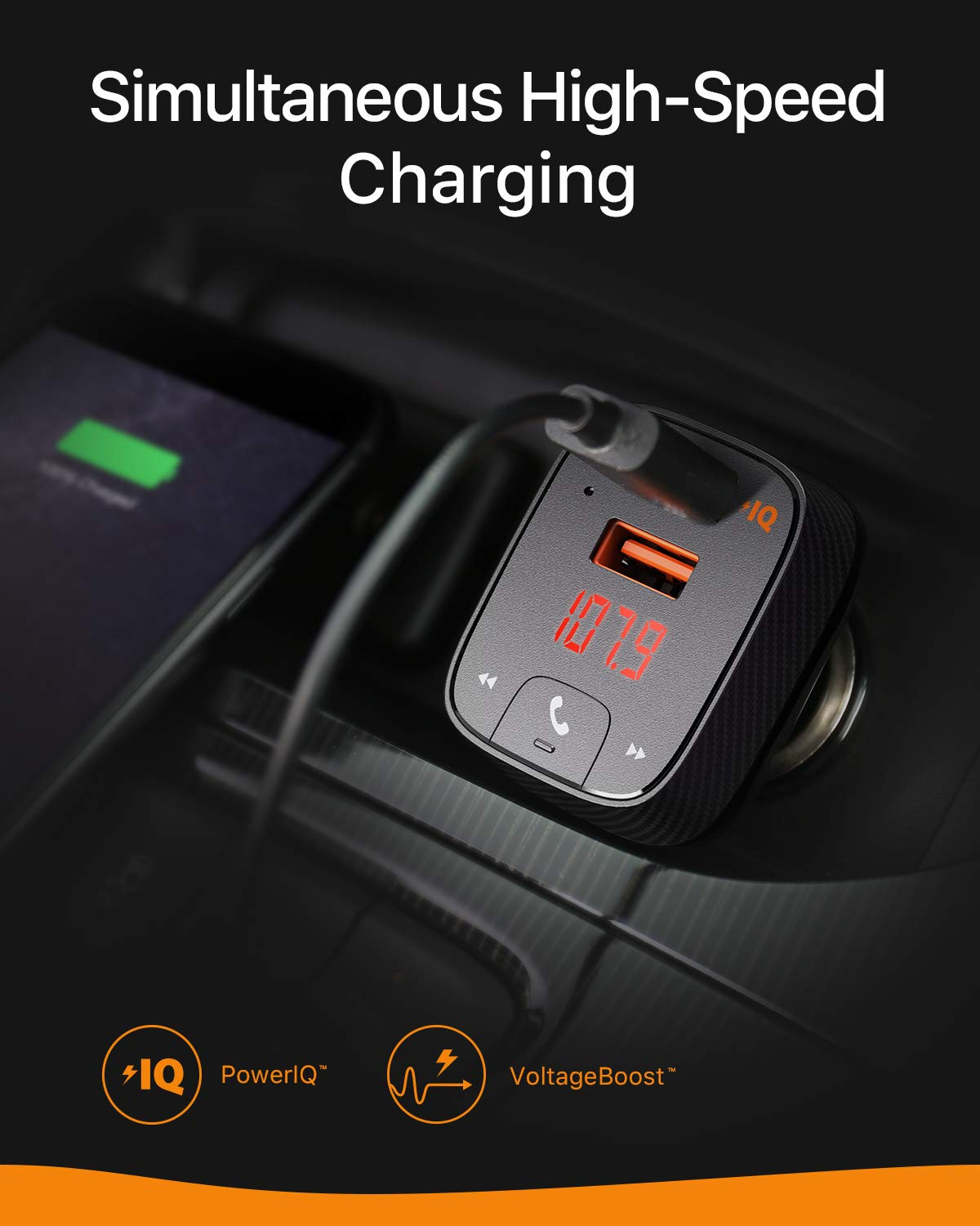Roav SmartCharge F2, by Anker, FM Transmitter, Bluetooth Receiver, Car Charger with Bluetooth 4.2, Car Locator, App Support, 2 USB Ports, PowerIQ, AUX Output, and USB Drive to Play MP3 Files by ROAV (Image #6)