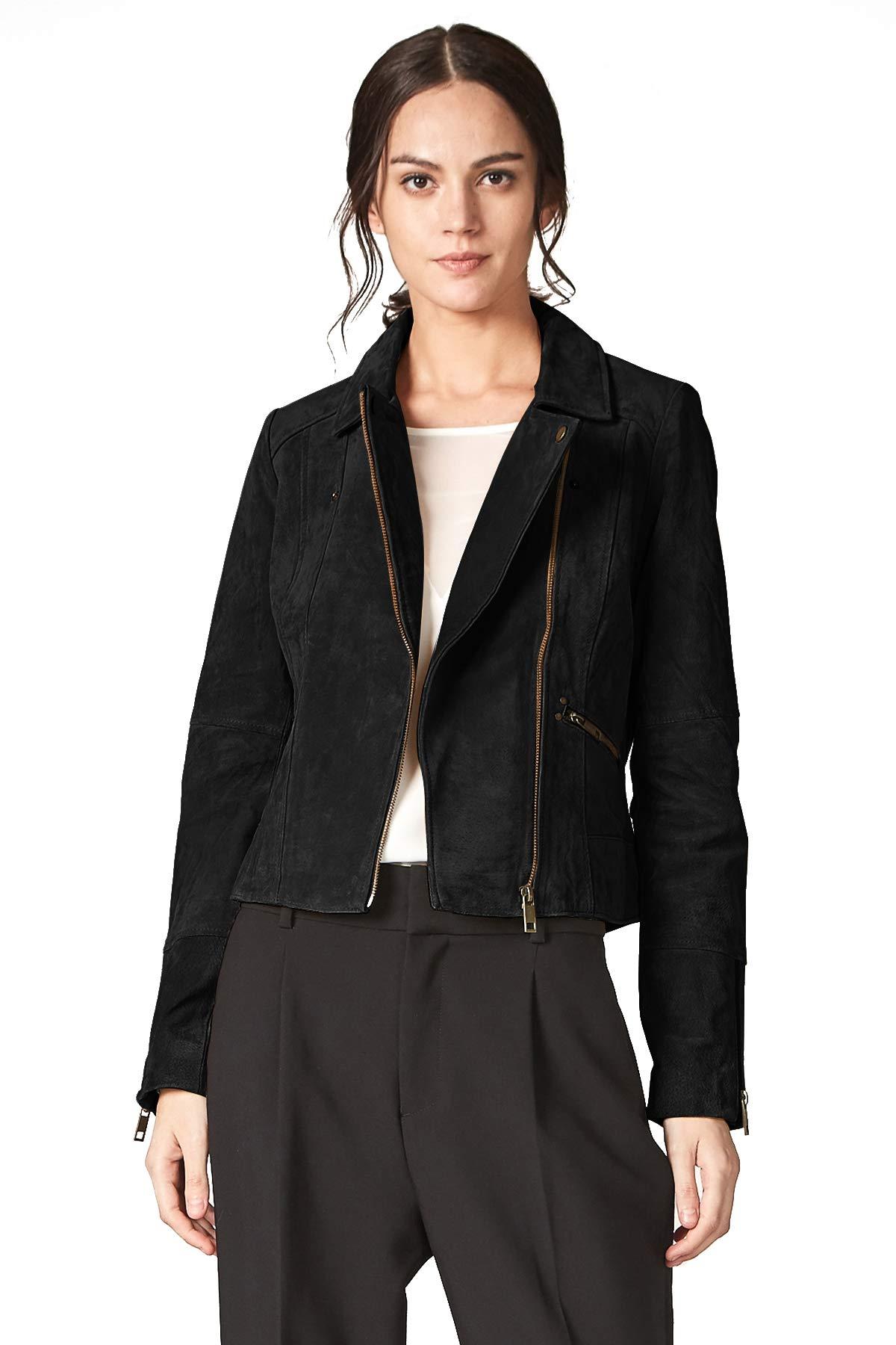 fc4d1854d482e Galleon - Escalier Women s Genuine Leather Jacket Suede Moto Biker Coat  Black S