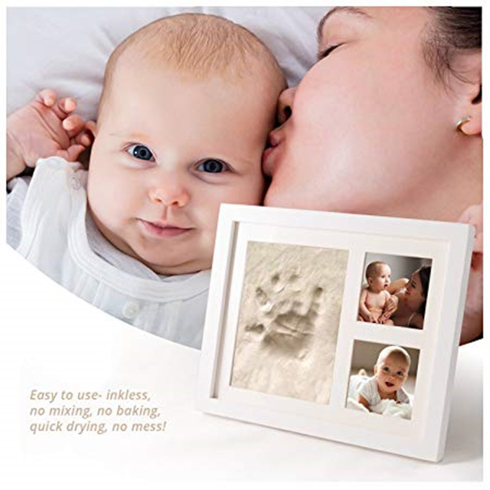 Baby Photo Frame with Handprint & Footprint Kit, Best Gifts for Newborn Girls and Boys Shower Registry Keepsakes(White) by Hathdia (Image #7)