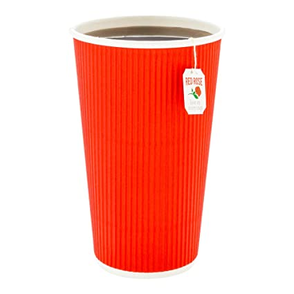 5e547323a66 500-CT Disposable Red 16-OZ Hot Beverage Cups with Ripple Wall Design: