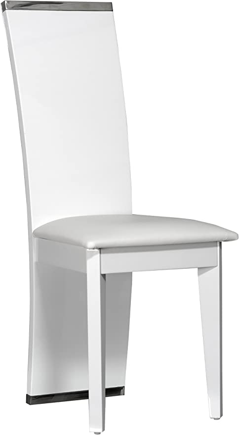 chaises laquees blanches cuir noir