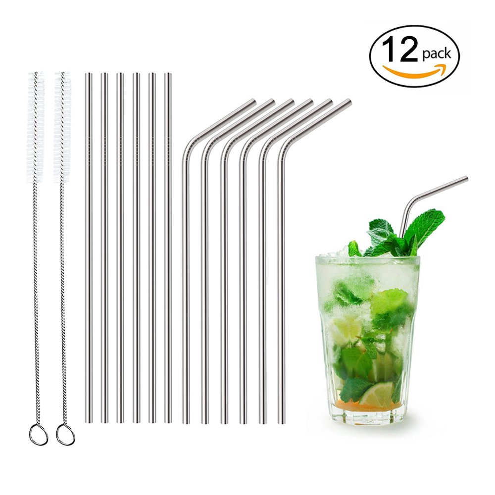 Stainless Steel Straws - Housen Solutions Drinking Straws Set of (6 Straight + 6 Bent + 2 Brushes), Reuseable Straws 10.5 inch for 20-30 oz Tumblers