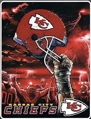 (The Northwest Company Kansas City Chiefs NFL Sky Helmet Raschel Plush 60x80 Twin Size Throw/Blanket)