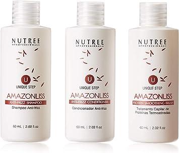 Tratamiento de proteína brasileña para alisar el cabello, 1 paso, alisador de proteínas Amazonliss, 60 ml - Nueva fórmula - Sin olor - Sin ...