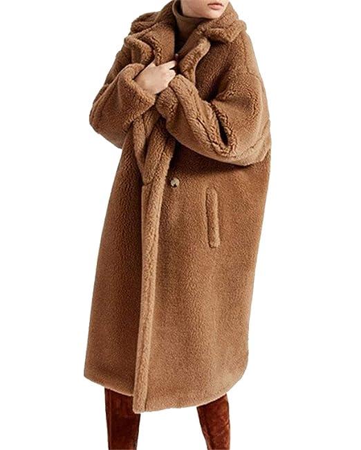 MISSMAOM Favoloso Cappotto di Pelliccia Finta per Donna in Finto astrakan  Persiano a12f5097336