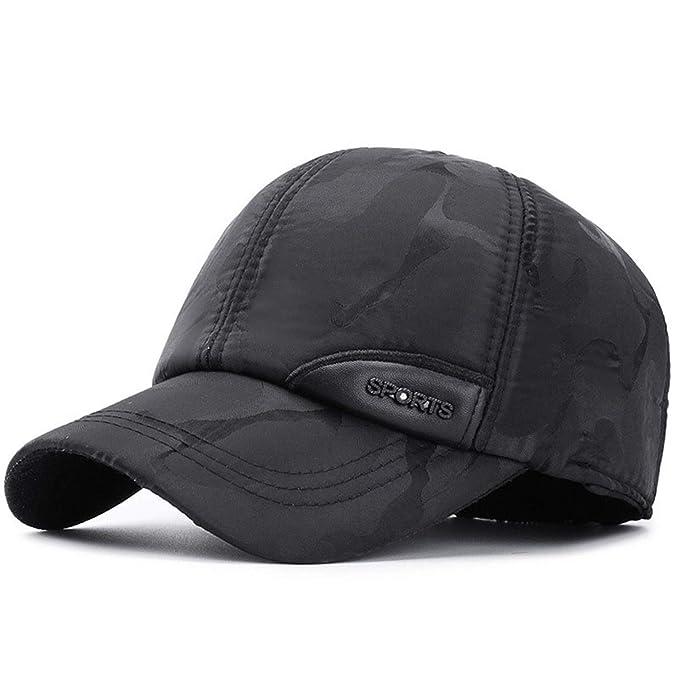 Camuflaje De Invierno para Hombre Gorras De Béisbol con Orejeras Exterior Cálido Deportes Papá Sombreros para Hombre Hueso Gorras Casquette Negro Ajustable: ...