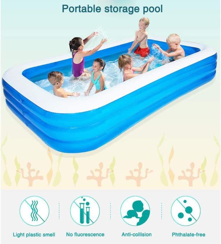 142 Alaeo Rechteckige Aufblasbare Pool Schwimmbecken Center Familie Hinterhof Garten Sommer Kinder Outdoor Fun Planschbecken Im Freien Verdickt-Blue-3layers-180 60cm