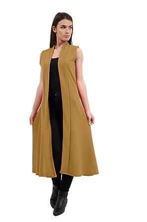 Top Mode Damen Crepe Ärmellose Taille Vorderseite Öffnen