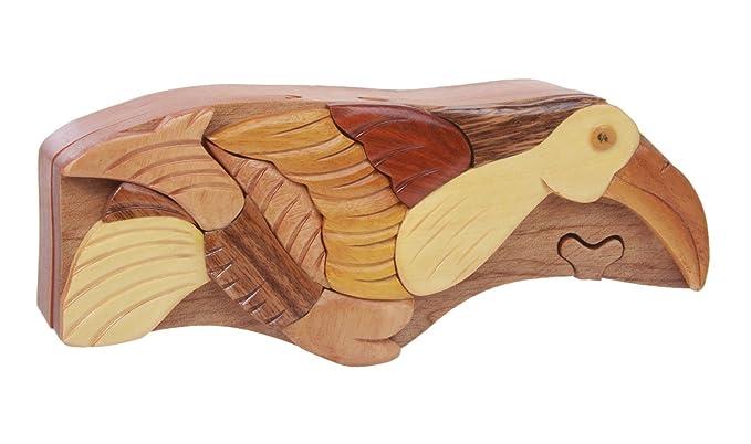 Hecho a mano de madera pájaro forma secreto joyas caja de Puzzle – pájaro
