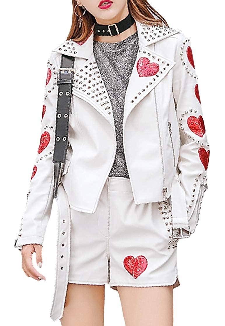 YUNY Women Rivet Sequin Turn Down Collar Solid Color Leather Trench Coat White XL